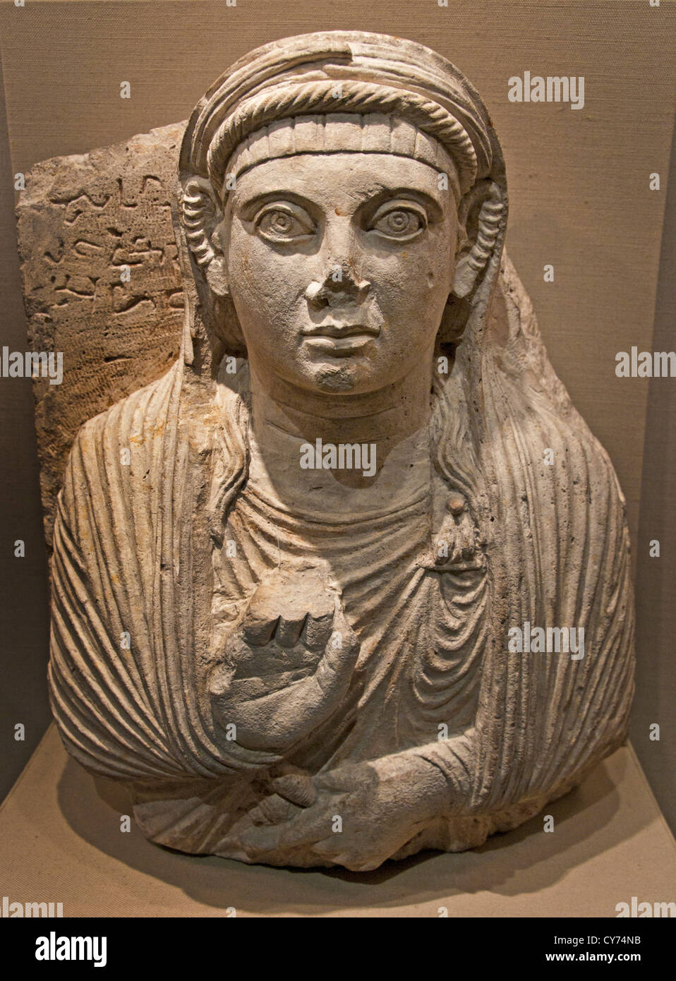 Gravestone with bust of a woman 2nd century AD Palmyra Limestone 51 cm Syria Syrian - Stock Image