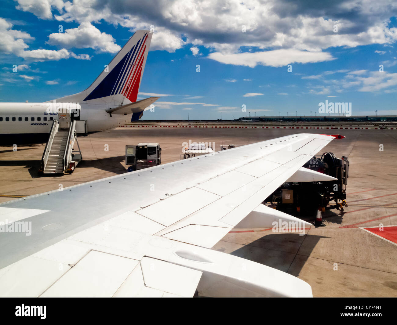 View of passenger aircraft on the ground after landing at Barcelona airport in Spain - Stock Image