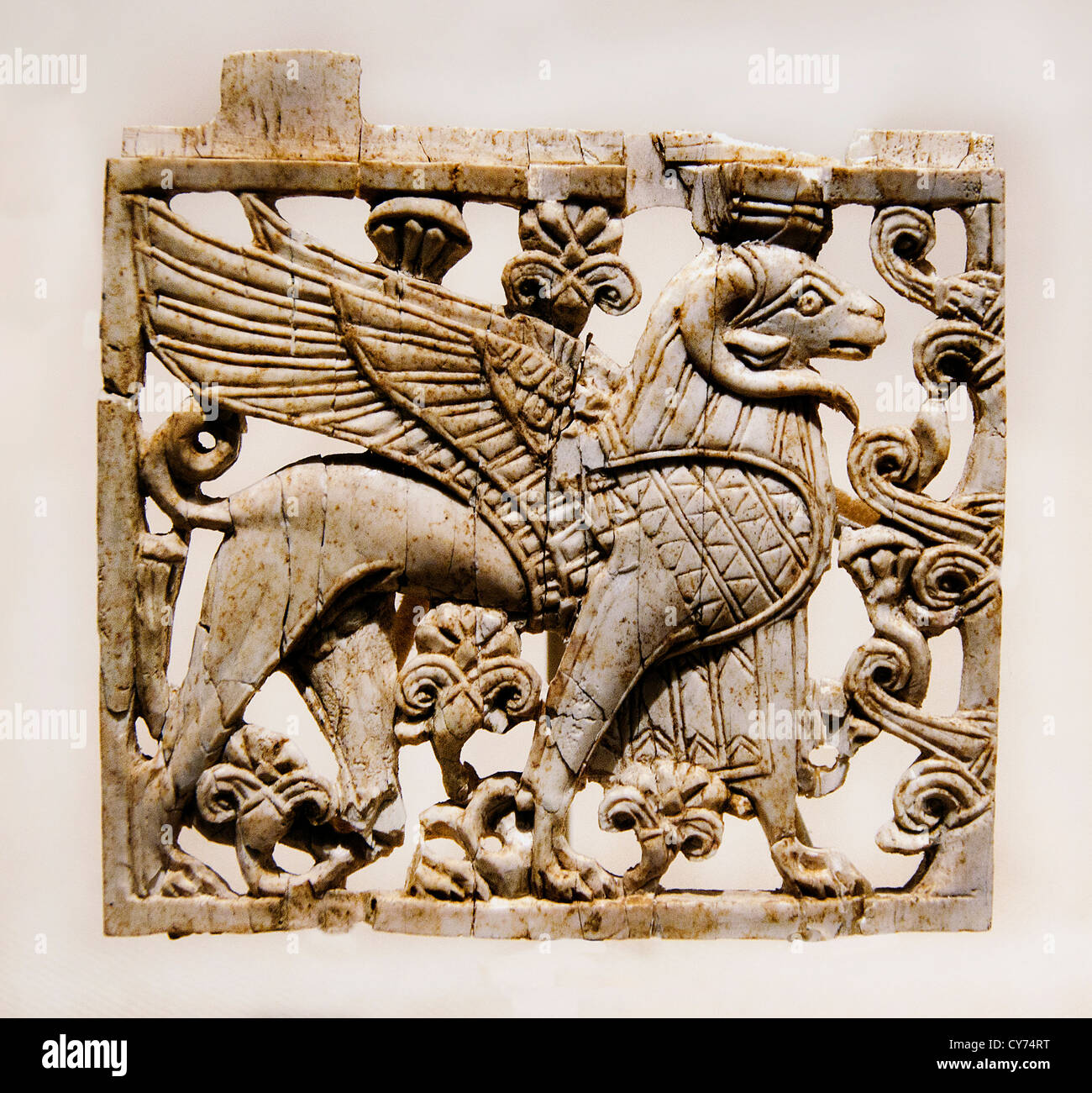 Openwork plaque with ram-headed sphinx  Neo Assyrian 9th–8th century B.C. Mesopotamia Nimrud ancient Kalhu Assyrian - Stock Image