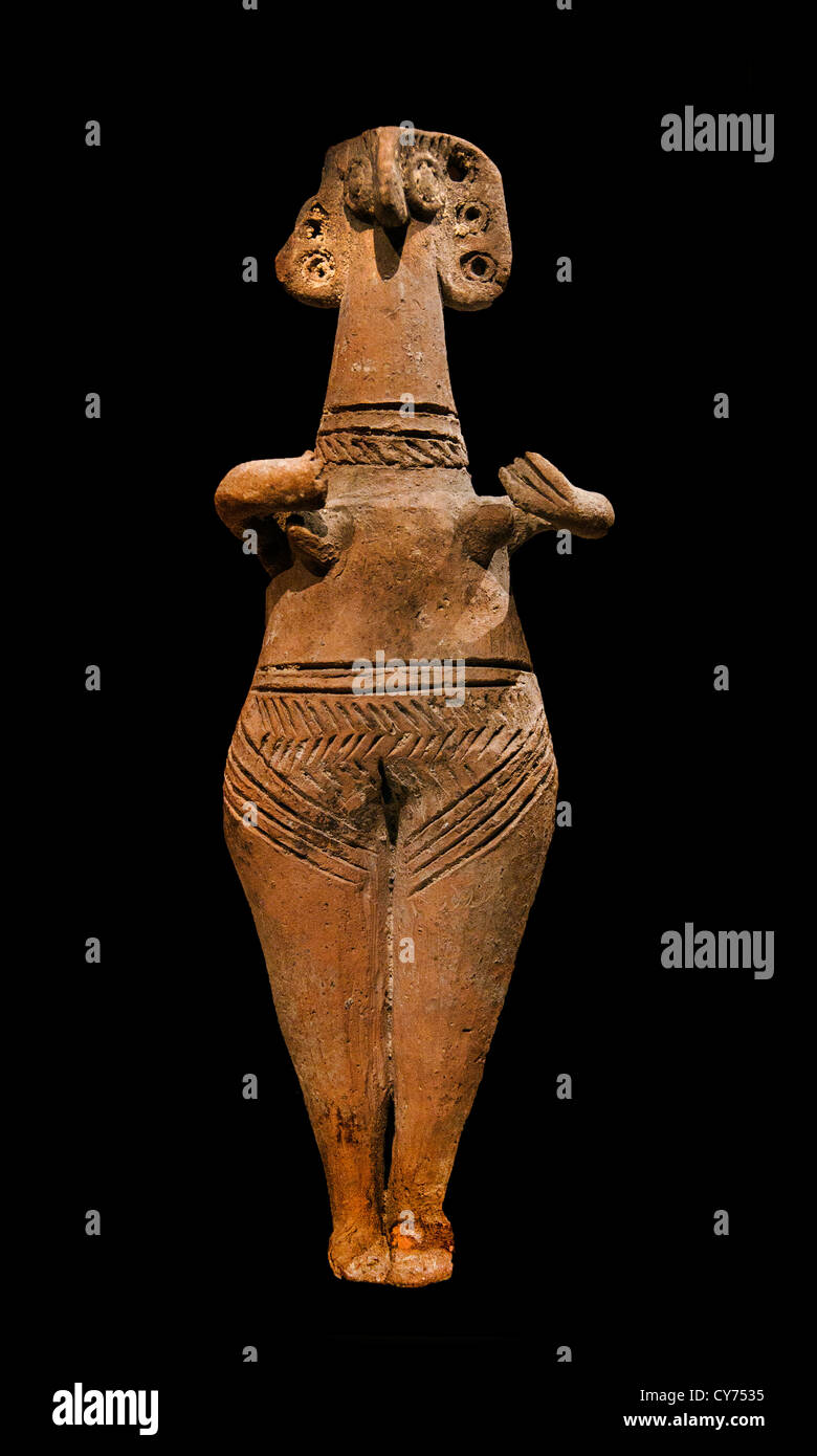 Terracotta statuette of woman with bird face Cypriot II 1450–1200 B.C. Cypriot 15.6 cm Cyprus Greek Greece Stock Photo