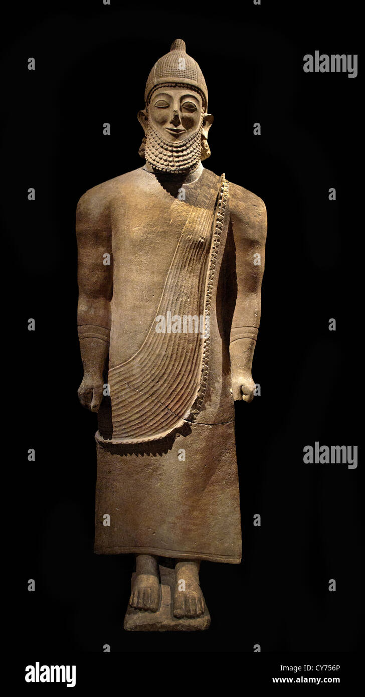 Limestone priest Archaic  6th century B.C.  Cypriot 217.2 cm Cyprus Greek Greece - Stock Image