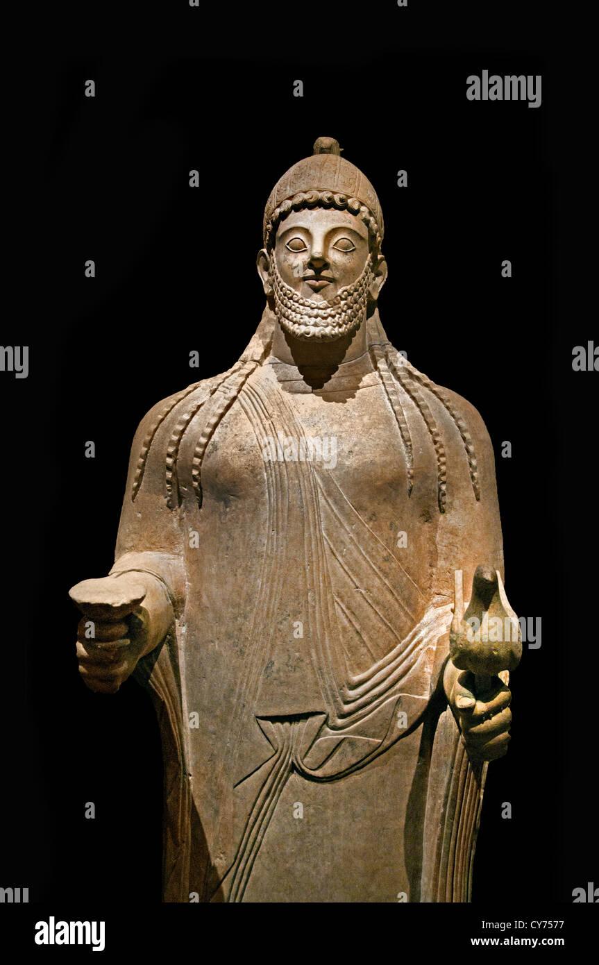 Limestone priest Archaic  6th century B.C.  Cypriot 217 cm Cyprus Greek Greece - Stock Image