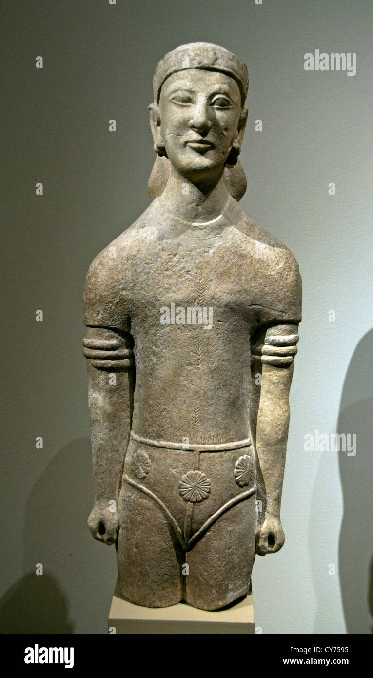 Limestone male figure Archaic 6th century B.C. Cypriot  73 cm Cyprus Greek Greece - Stock Image