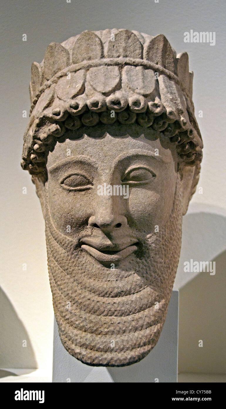 Limestone male head archaic 5th century B.C. Cypriot 33 cm Cyprus Greek Greece - Stock Image