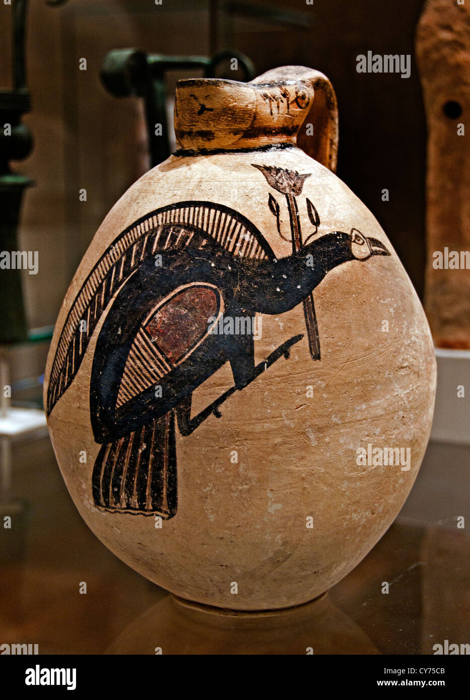 Terracotta jug Bird Cypro-Archaic I ca. 750–600 B.C. 25 cm Cyprus Greek Greece Cypriot Stock Photo
