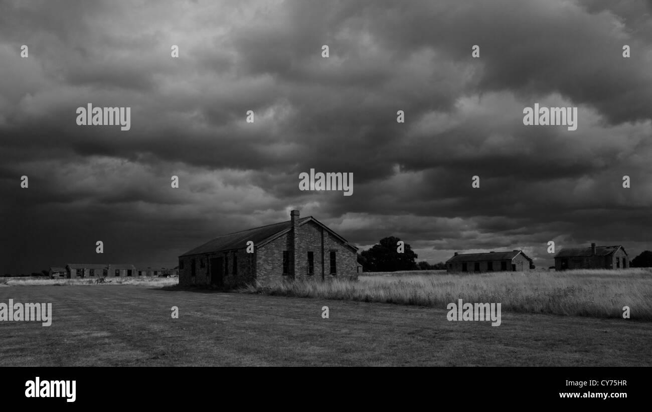 Stow Maries World War 1 Airfield. Black and White panoramic. - Stock Image