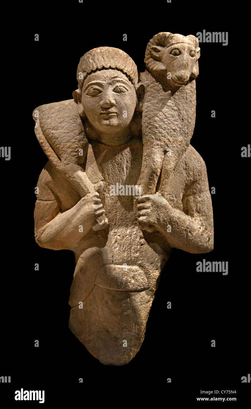 Limestone ram bearer Archaic 6th century B.C. Cyprus Greek Greece Cypriot - Stock Image