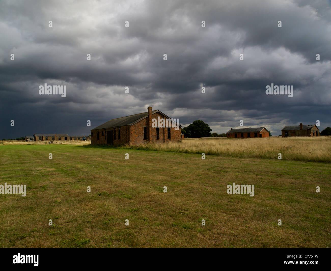 Stow Maries World War 1 Airfield, under stormy Essex skies. - Stock Image