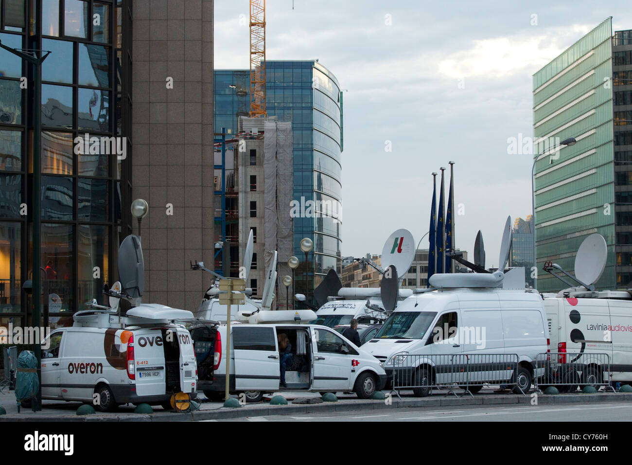 c33ee61055 Media satellite transmission vans parked outside the EU Summit Stock ...
