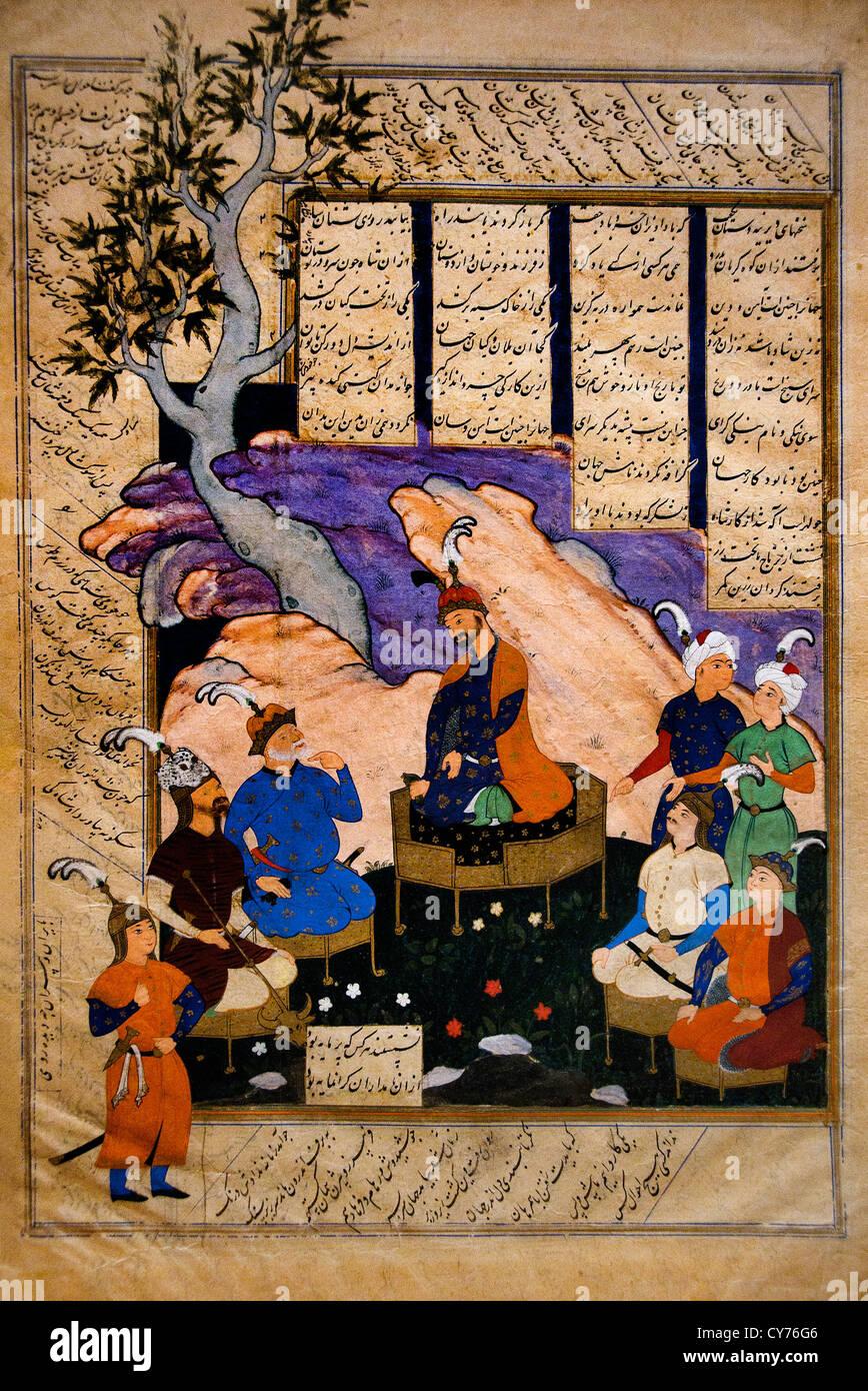 Luhrasp Hears from the Returning Paladins of the Vanishing Kai Khusrau Shahnama Book of Kings of Firdausi bu'l - Stock Image