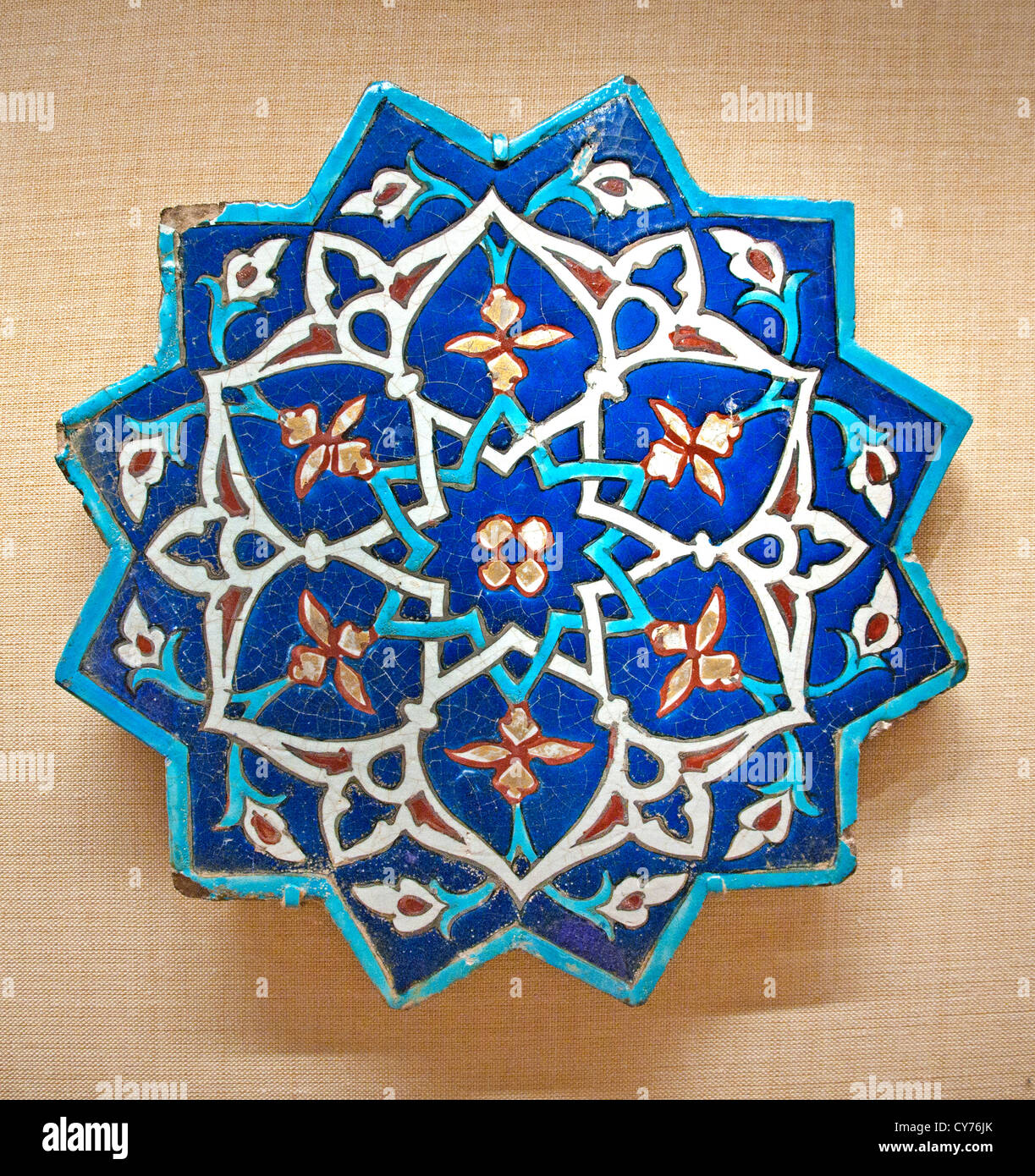 Star-shaped Tile 1442–43 Iran Khargird Stonepaste polychrome glaze ...