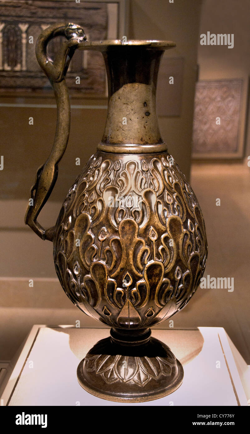 Ewer with a Feline shaped Handle 7th century  Iran  Bronze 49 cm Metal Iran Stock Photo