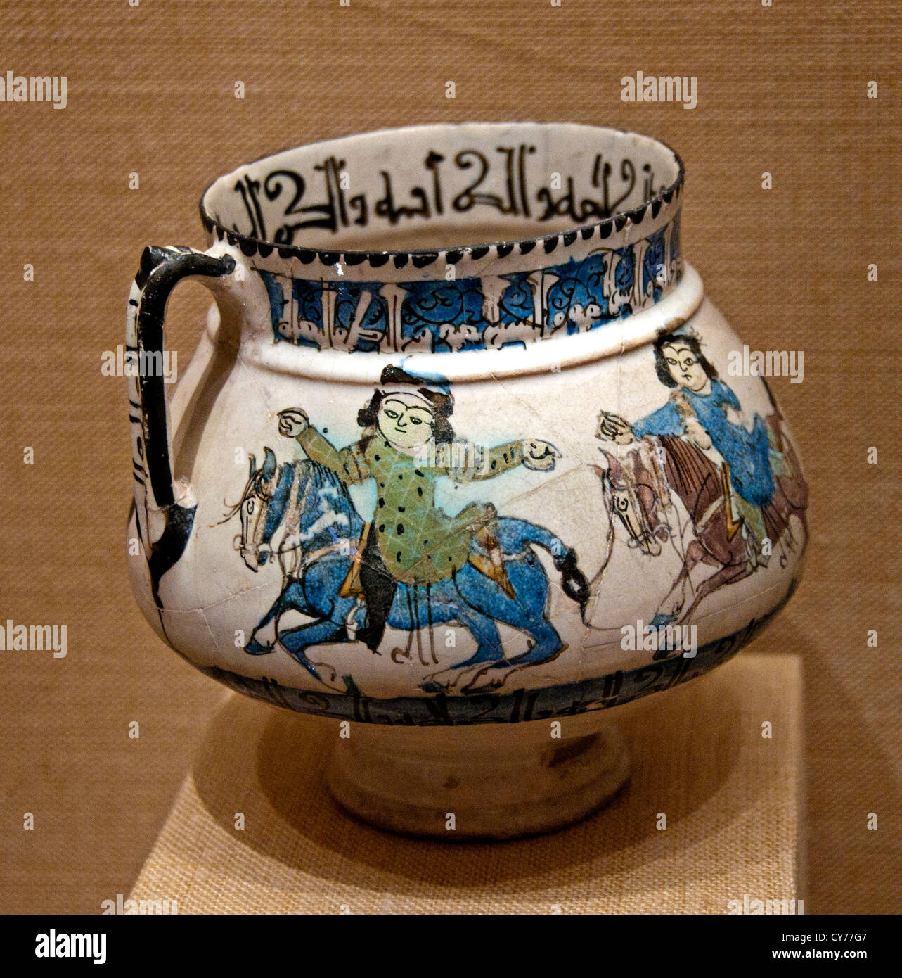 Ewer with Horsemen 12th–13th century Iran Stonepaste molded monochrome glazed Ceramics Iran Stock Photo