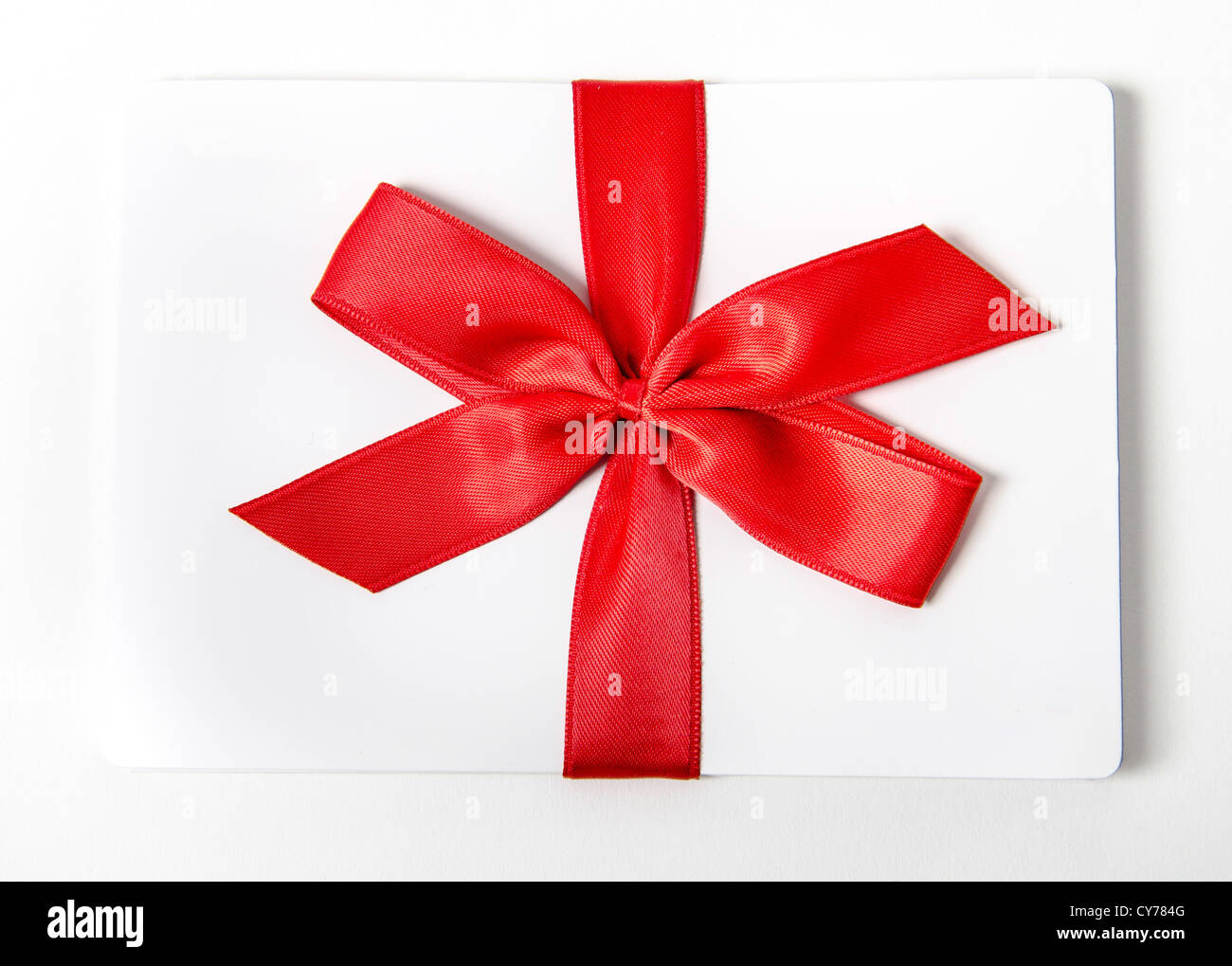 Gift box with red bow isolated on white background Stock Photo