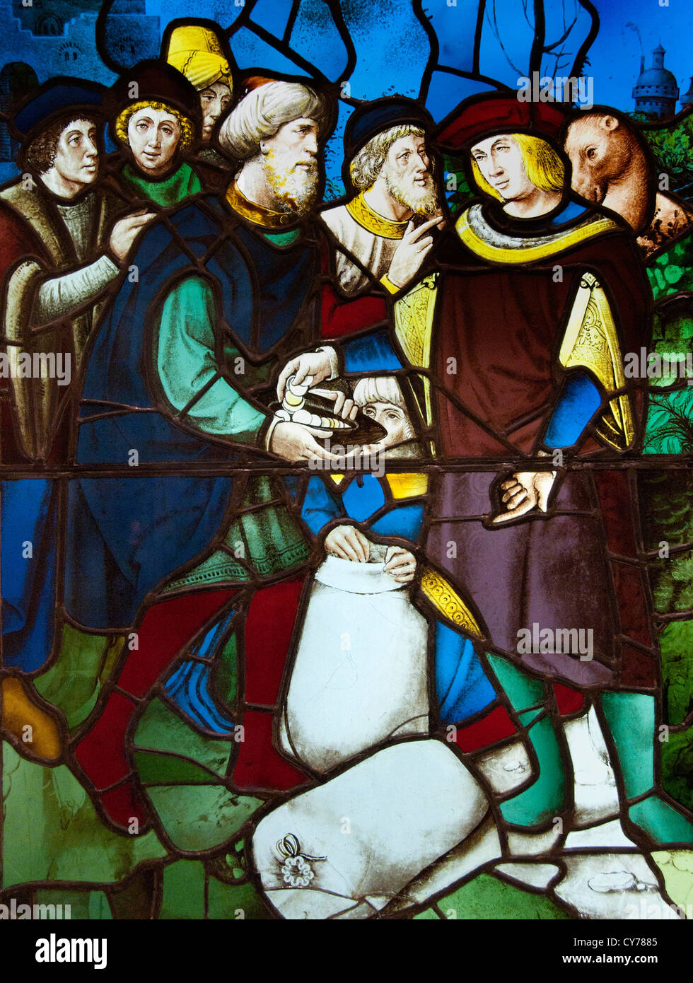 Joseph's Brethren Discover Money in Their Grain Sacks. 1530 French Rouen Glass stained 91 x 66 cm - Stock Image