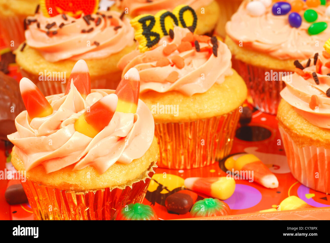 delicious halloween cupcakes presented on a serving tray