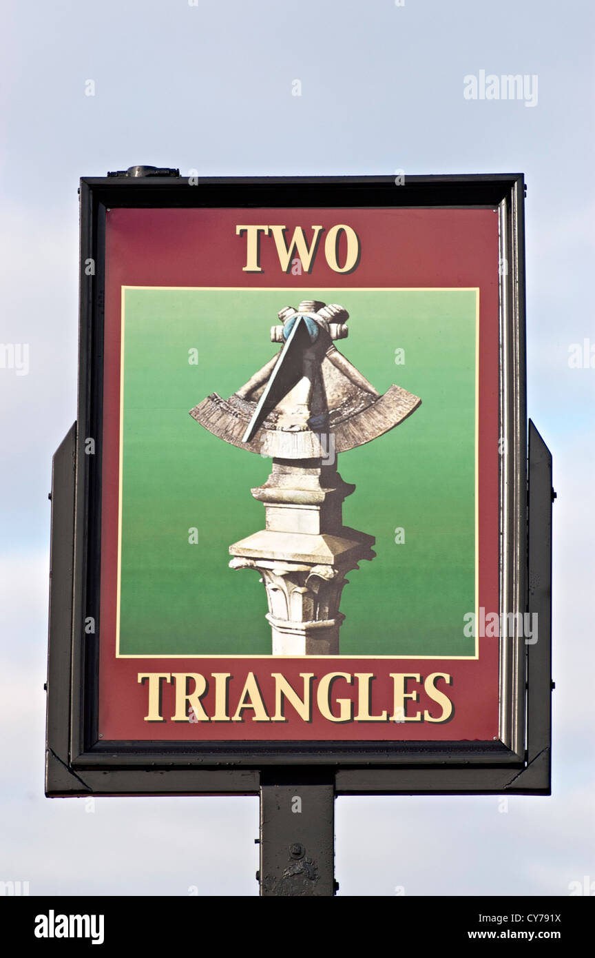 the two triangles Pub sign - Stock Image