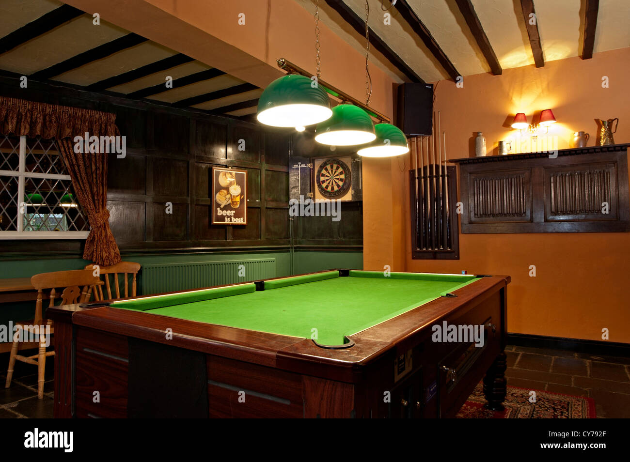 The Sarah Mansfield Pub Game Room With Pool Table And Darts Stock