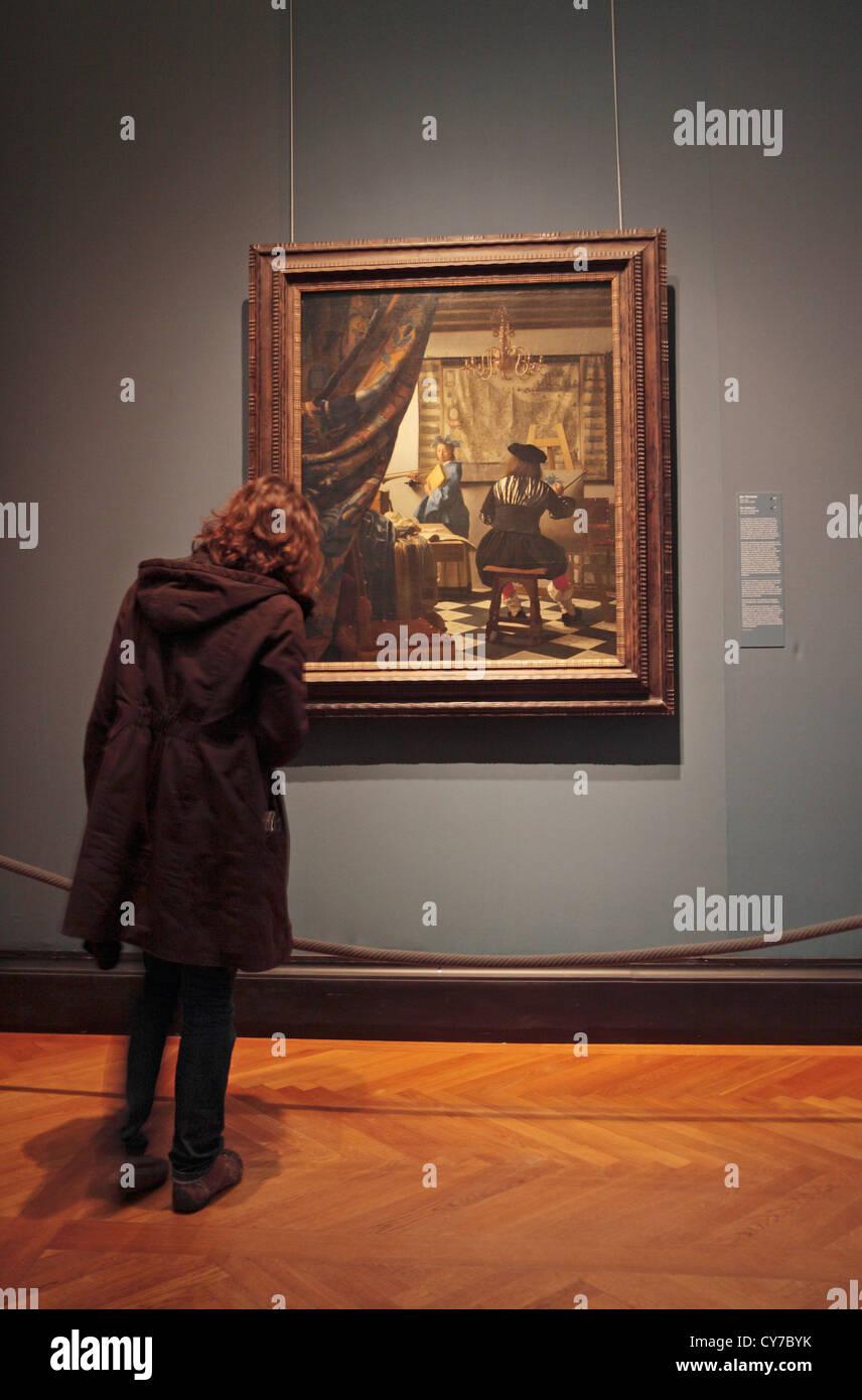 Visitor admiring Vermeer\'s \
