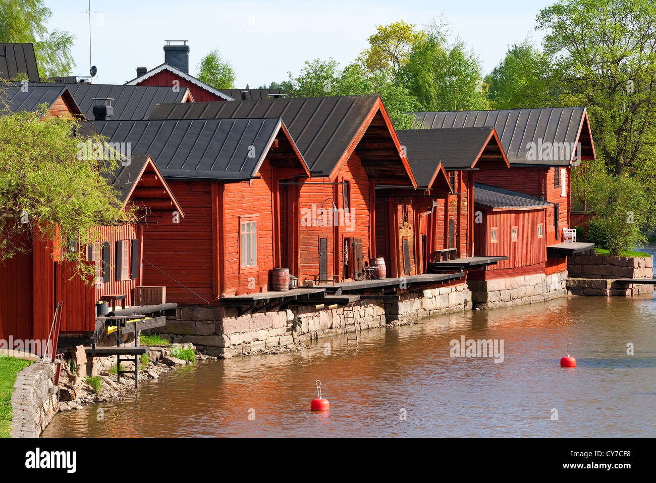 Picturesque wooden houses and the river in the town of Porvoo, Finland. - Stock Image