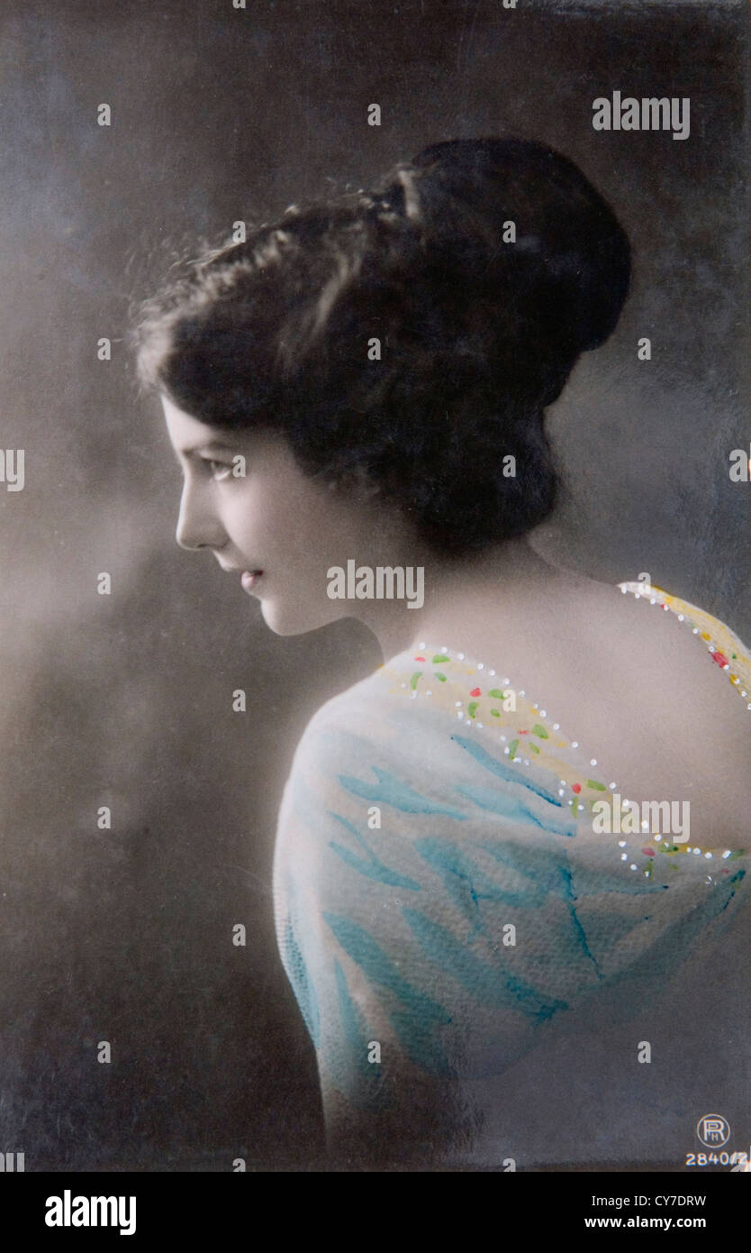 Pinup model womans fashion 1900s 1910s. UK. Hand coloured photo postcard. - Stock Image