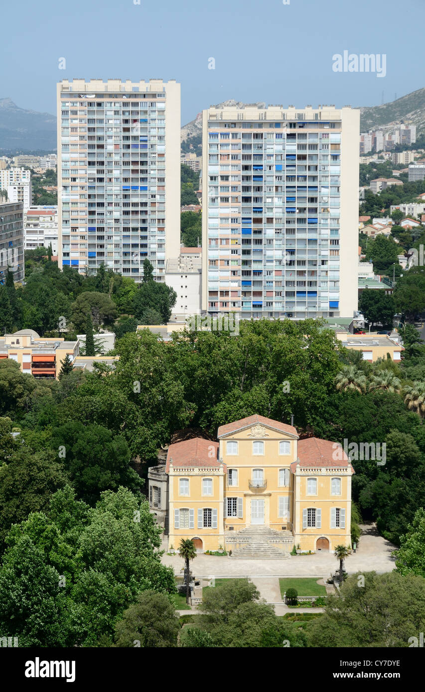 Aerial View of the Bastide de la Magalone Park Garden and Tower Blocks of Sainte-Marguerite Suburb Marseille or - Stock Image