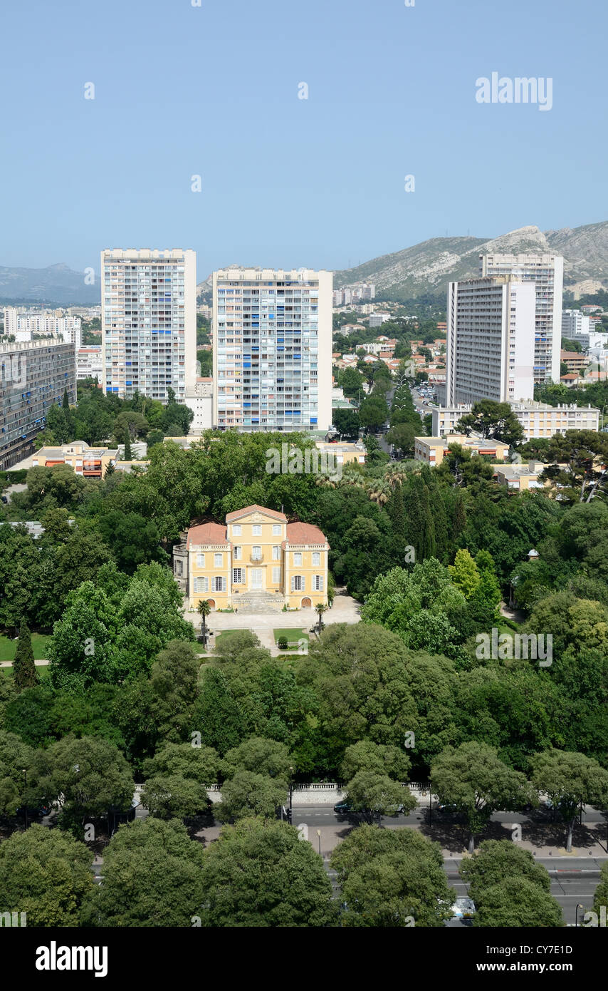 Aerial View of c18th Bastide de la Magalone Park & Tower Blocks in Suburbs of Sainte-Marguerite Marseille or - Stock Image