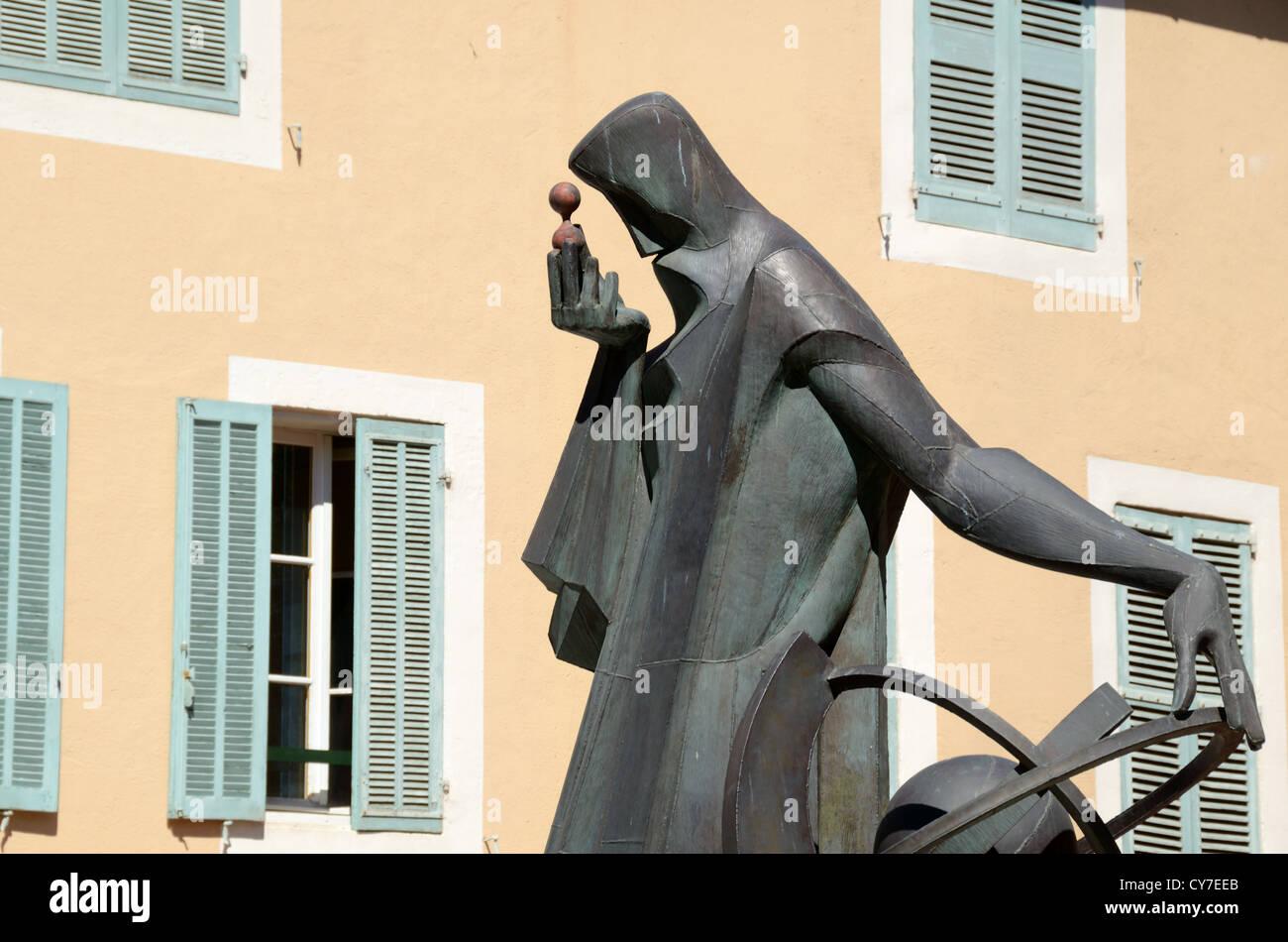 Contemporary Statue or Sculpture of Nostradamus Salon-de-Provence Provence France - Stock Image