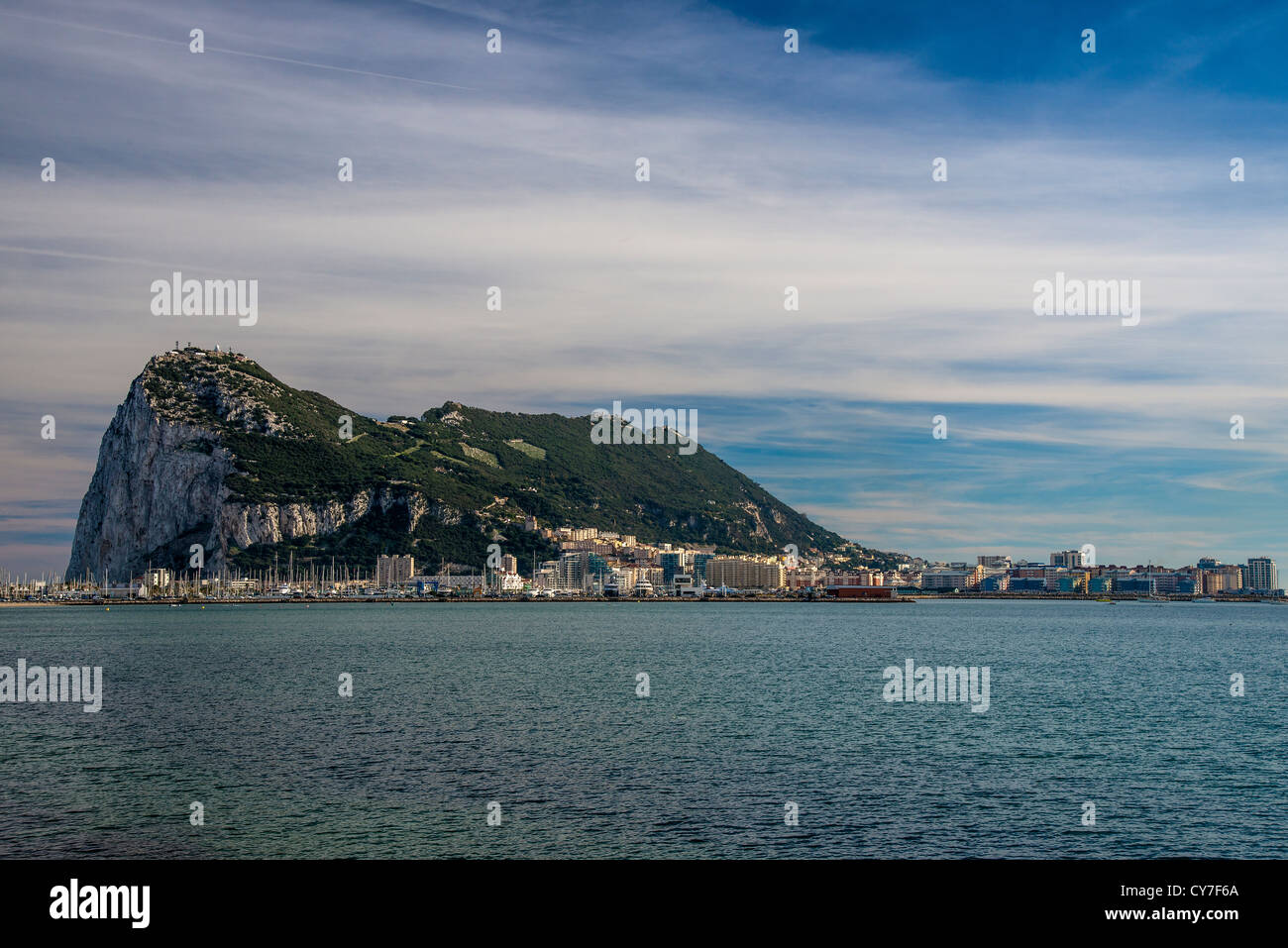 Panoramic view over the Western face of The Rock, Gibraltar, Spain - Stock Image