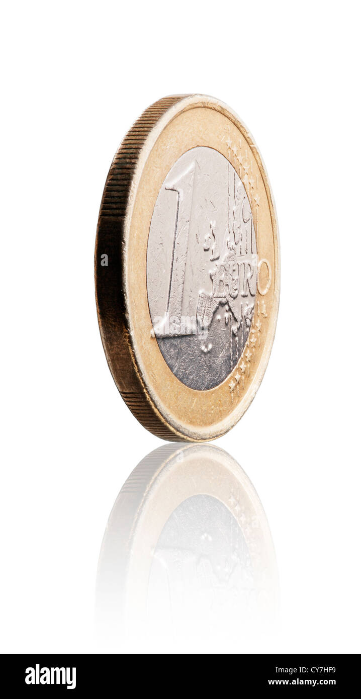 Used 1 euro coin on white with reflection. - Stock Image