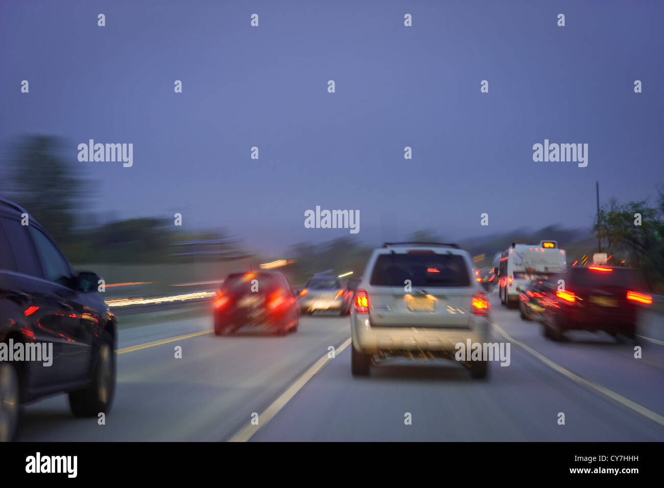 Cars On Highway At Night With Motion Blur - Stock Image
