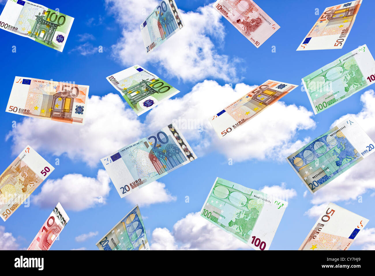 Euro biljets whirling in the sky - Stock Image
