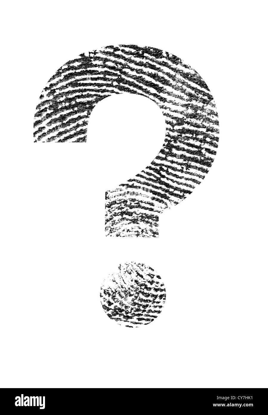 A Question mark made of a real fingerprint. Stock Photo