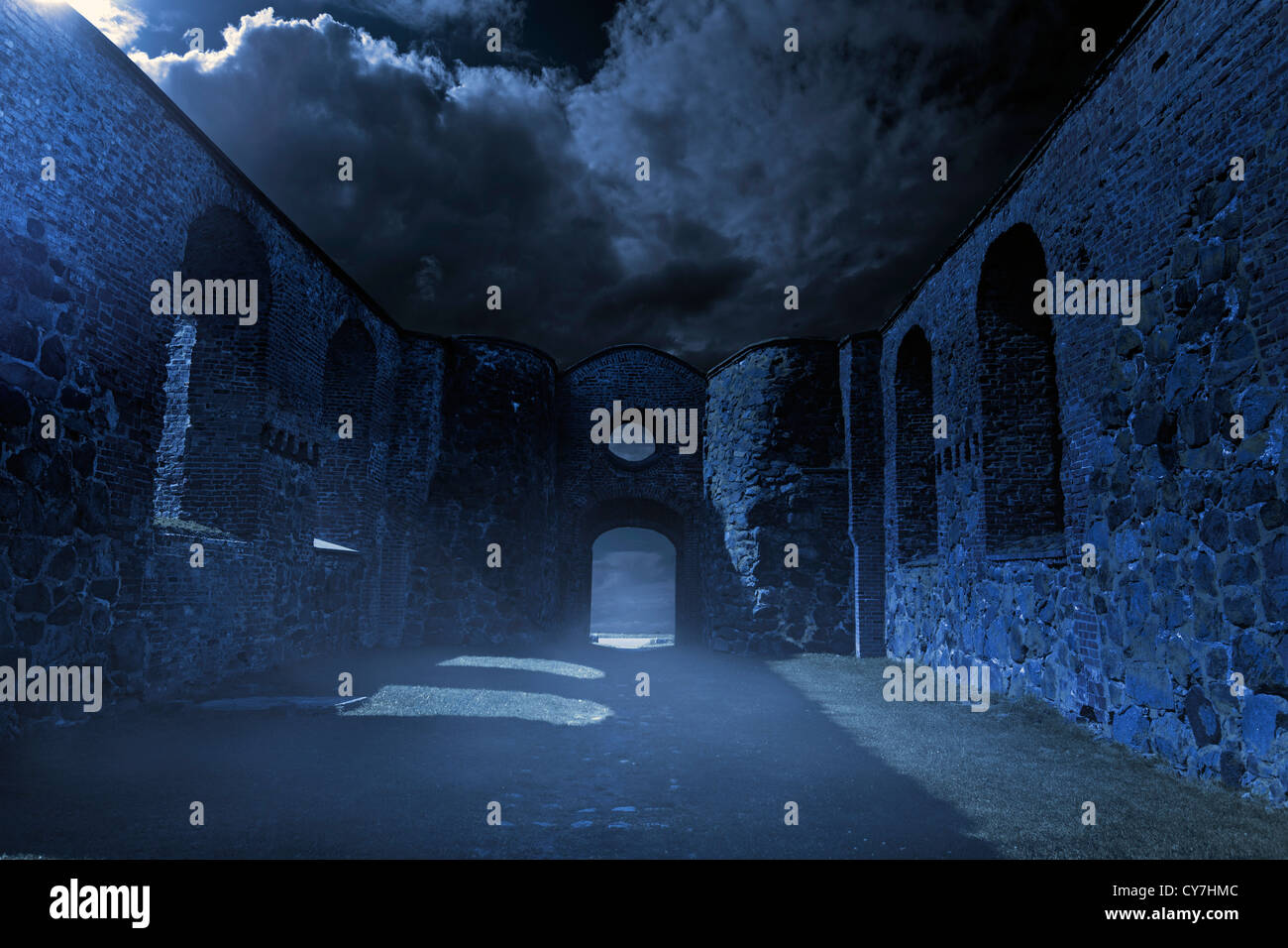 Old ruins on a spooky night. - Stock Image