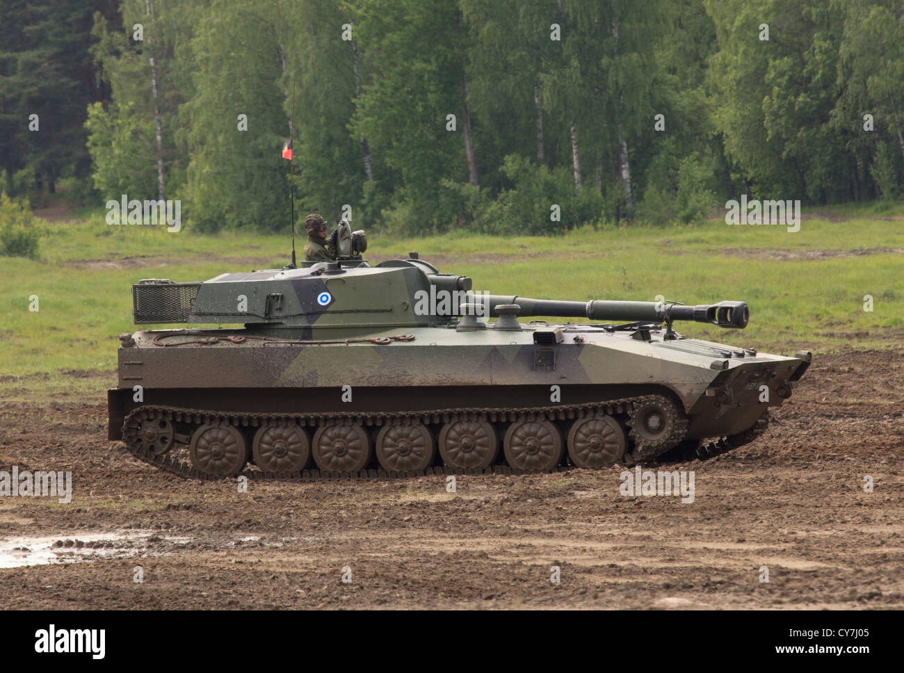 Self-propelled 2S1 howitzer of the Finnish Army. - Stock Image