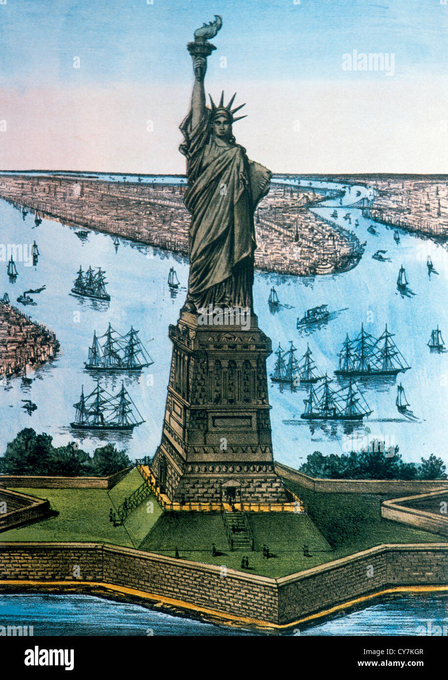 Statue of Liberty, New York, USA, Currier & Ives, Lithograph, Circa 1885 Stock Photo