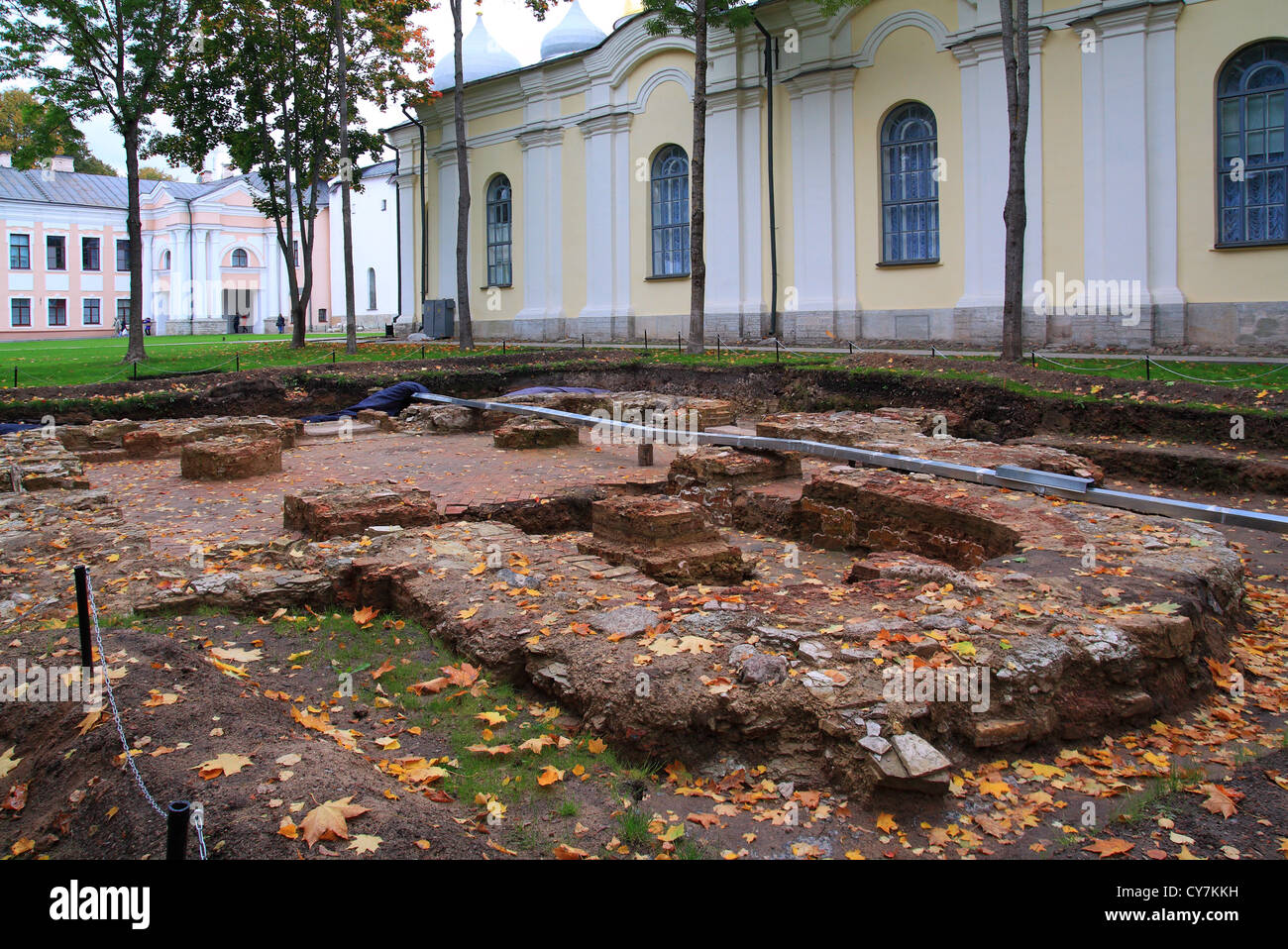 history excavations near old-time building - Stock Image