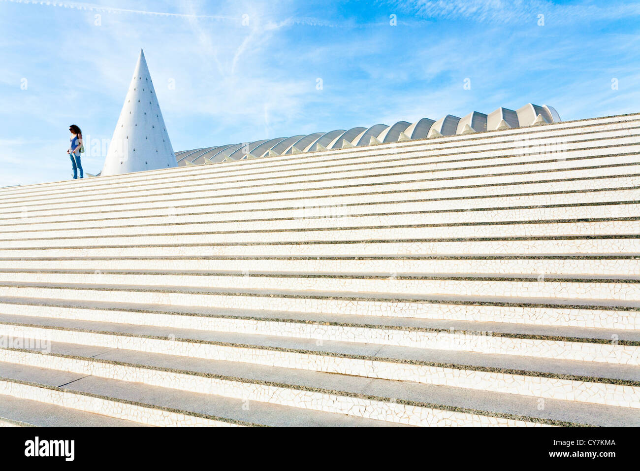 Elements of urban design in the City of Arts and Sciences in Valencia - Stock Image
