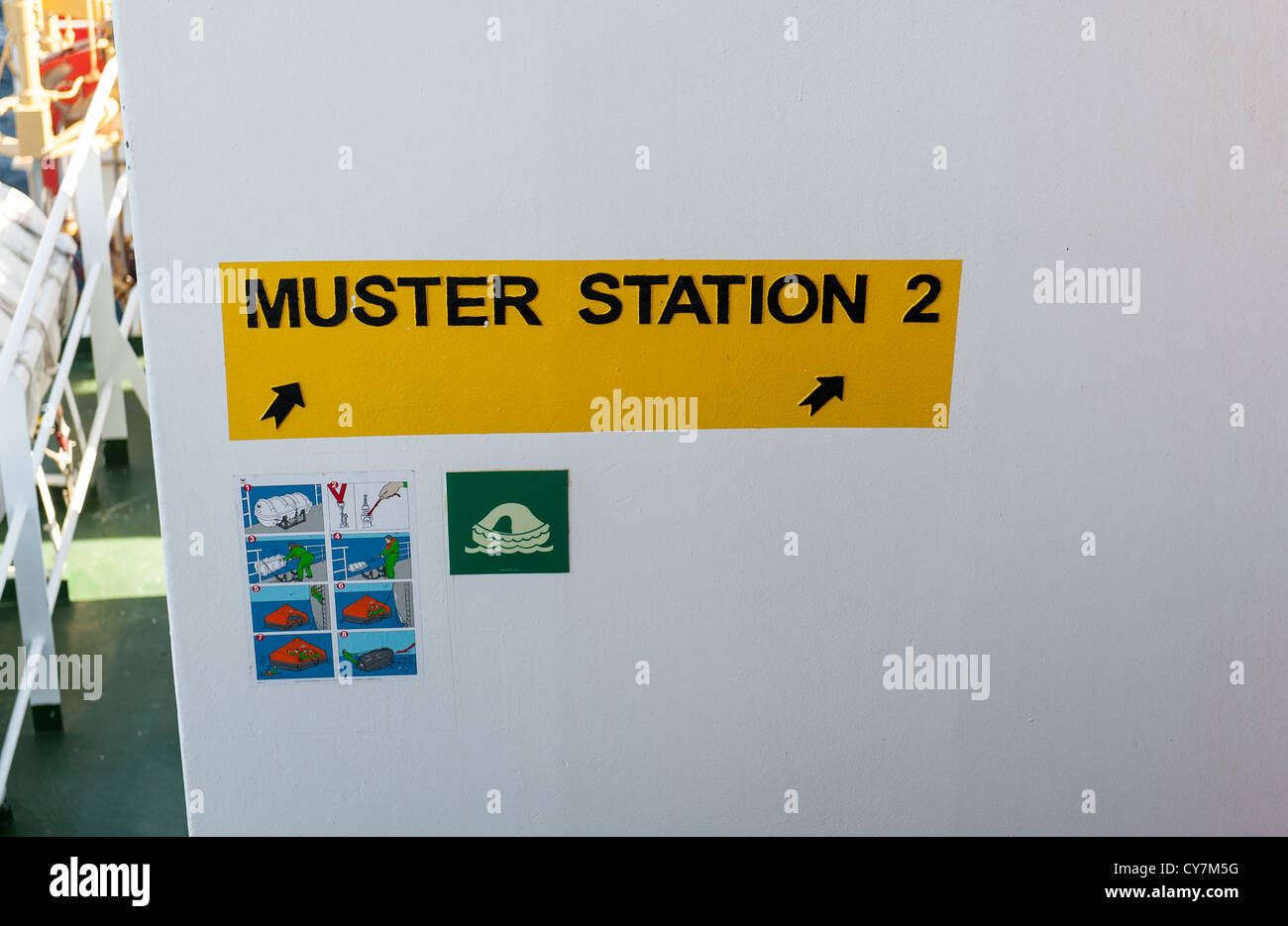 Muster station signs on a vessel - Stock Image