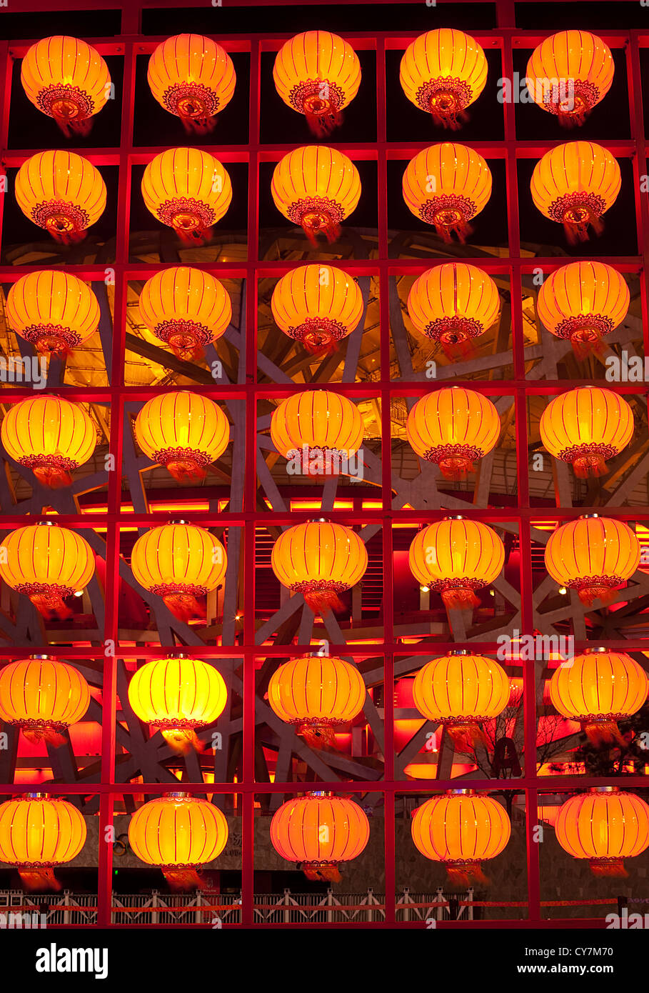 Group lanterns in Chinese new year season,Beijing China - Stock Image