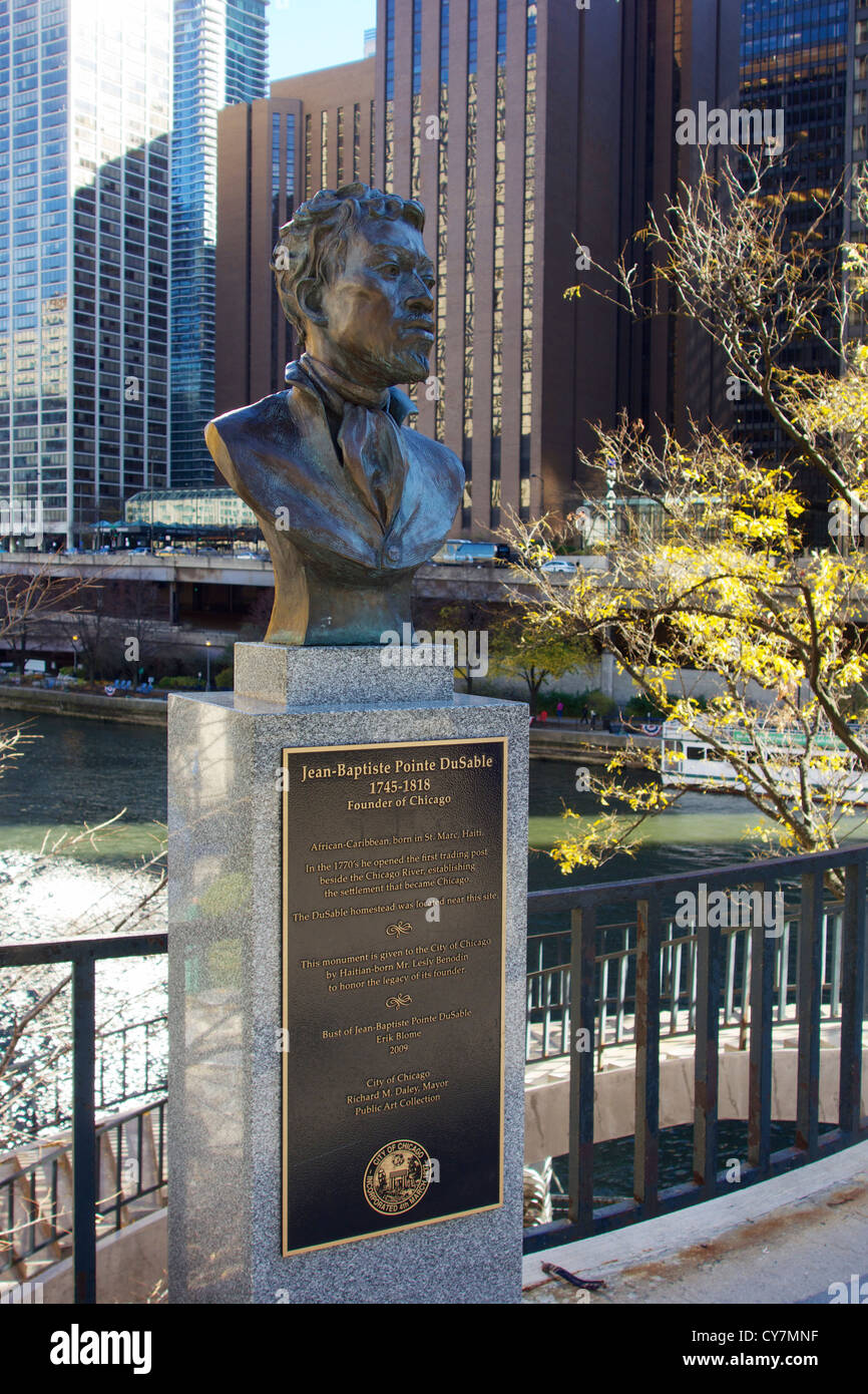 Bust of Jean-Baptiste Pointe DuSable, founder of Chicago. Pioneer Court, Michigan Avenue. Erik Biome sculptor. Stock Photo