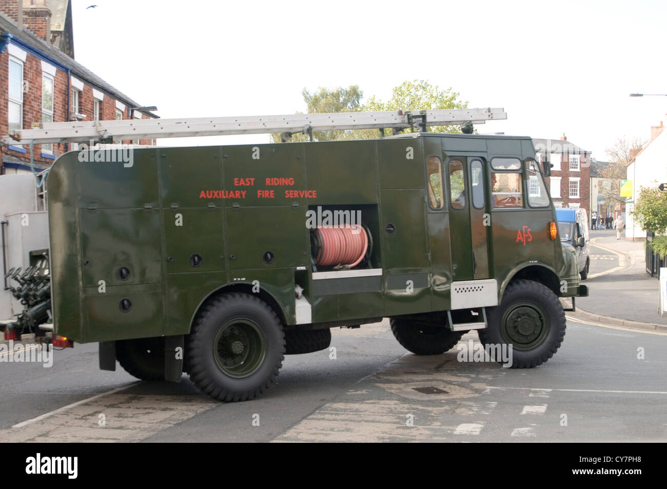 green goddess army fire engine engines auxiliary reserve bedford trucks - Stock Image