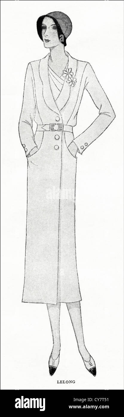 Original 1930s magazine illustration of Paris summer fashion Belted topcoat in white cheviot and patch pocketed - Stock Image