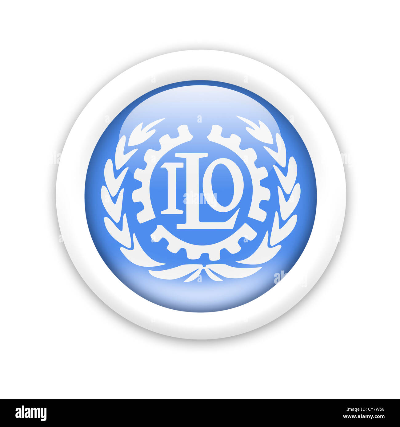 ILO / International Labour Organization logo symbol flag - Stock Image