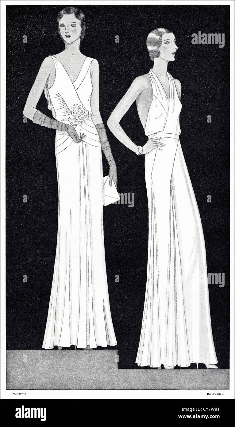 Original 1930s magazine illustration of Paris summer fashion. (left) Formal evening gown of crepe romaine in pale - Stock Image