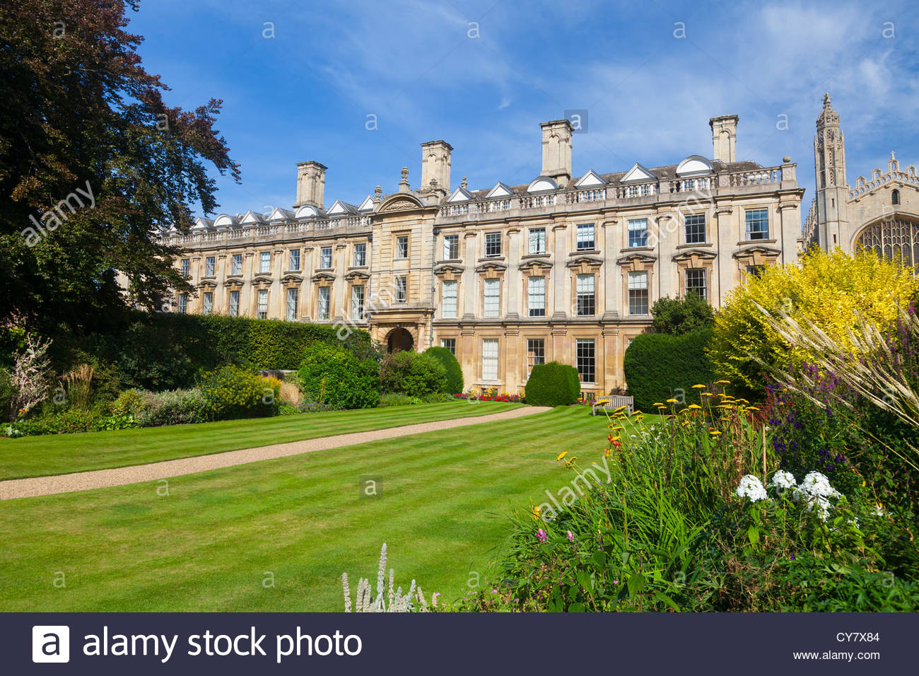 Clare College gardens and lawns, Cambridge, UK - Stock Image