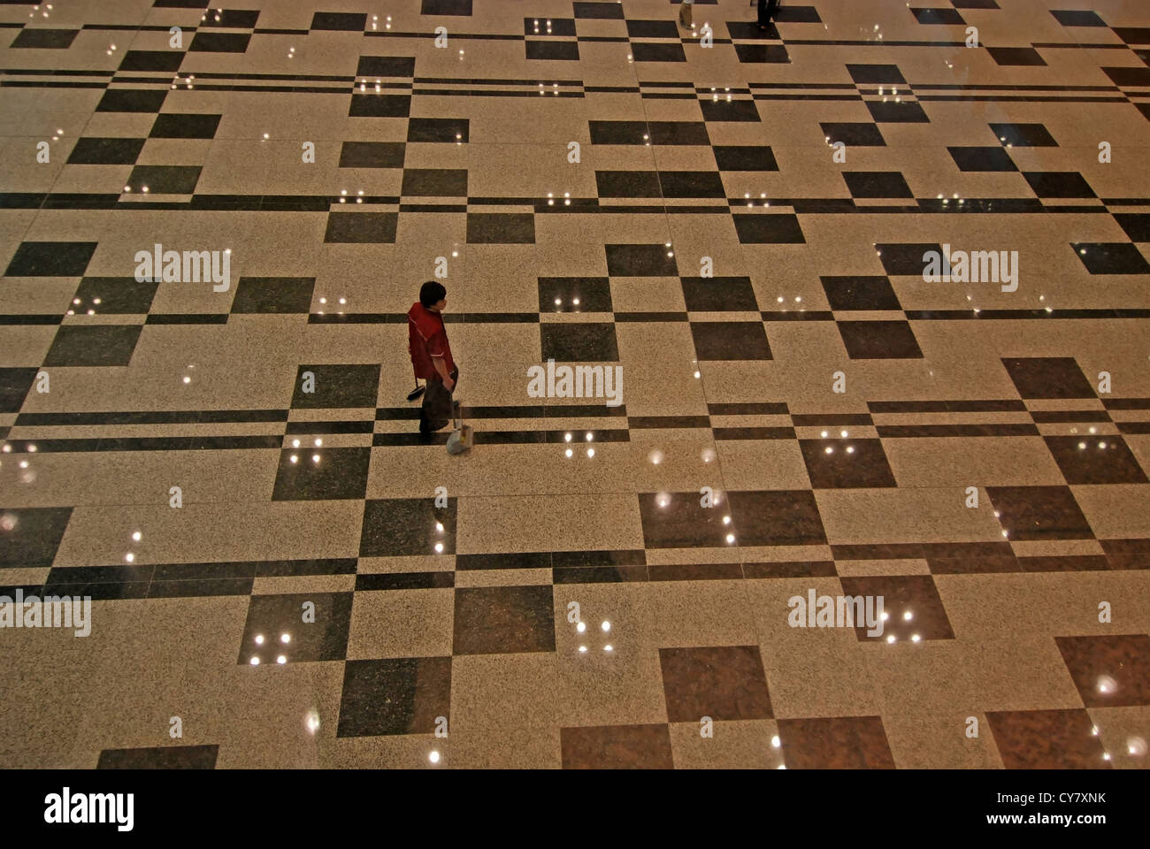 shinning floor in the exhibition hall - Stock Image