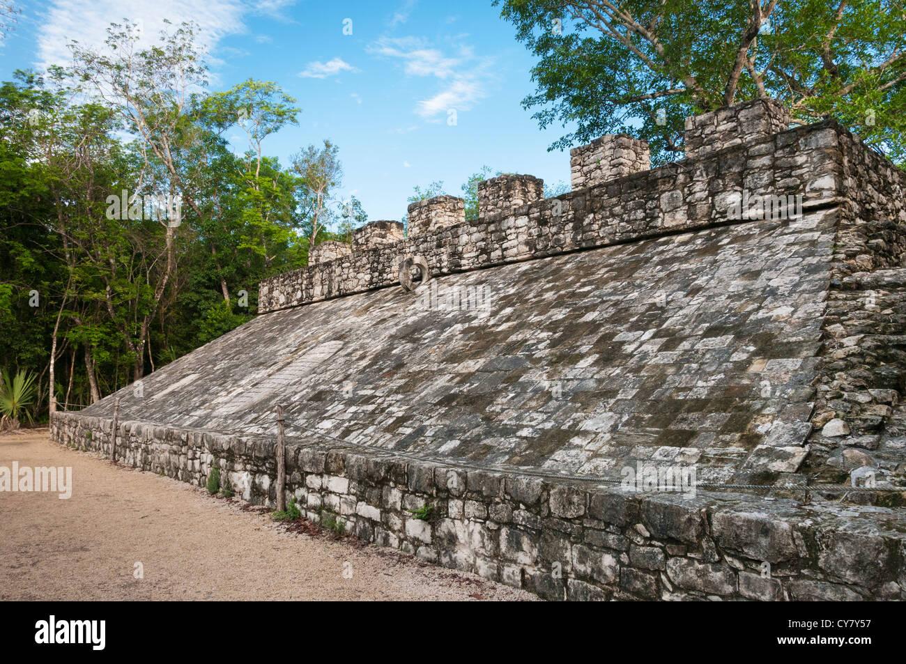 The ball court at Coba Mayan Ruins, Quintana Roo, Mexico. - Stock Image