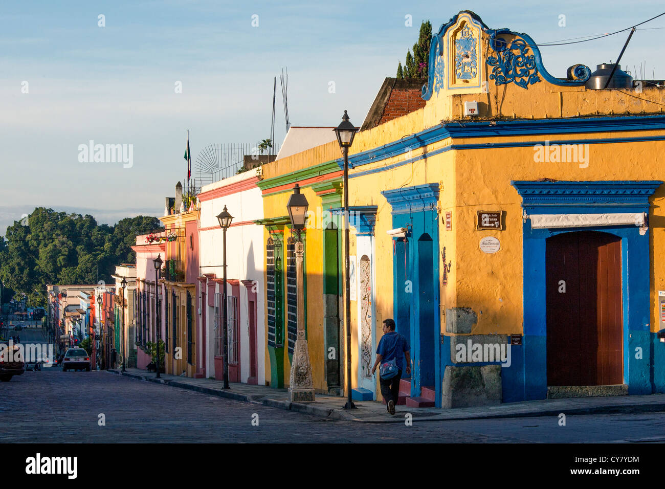 Colorful houses line Garcia Vigil street in downtown Oaxaca, Mexico. - Stock Image
