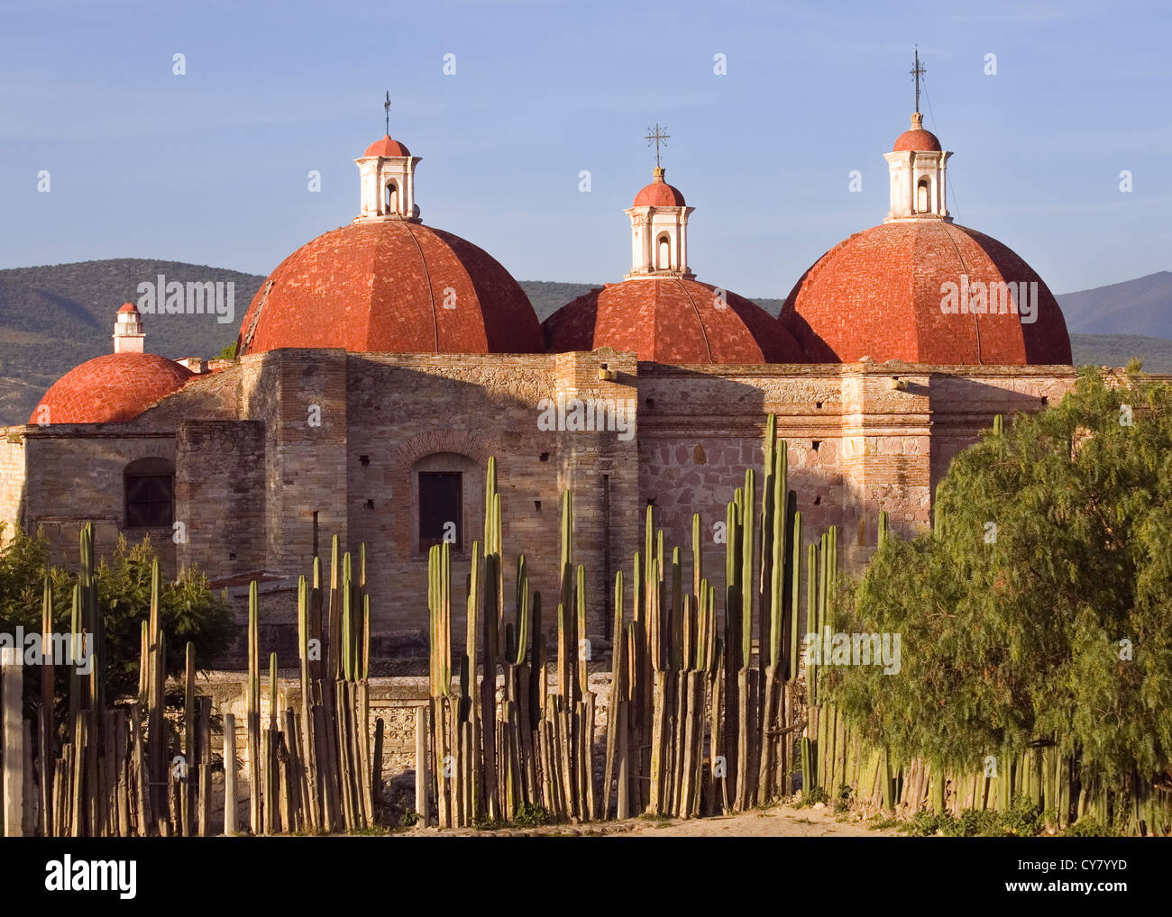 Red Domes of Church at the Mitla,Oaxaca Archaeology Site, Mexico - Stock Image